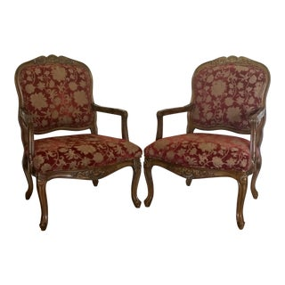 Vintage French Style Brocade Chairs - A Pair