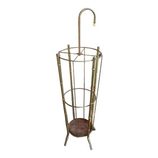 Vintage Brass Faux Bamboo Umbrella Stand