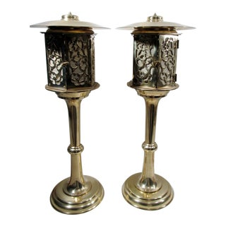 Japanese Brass Lantern Lamps - A Pair
