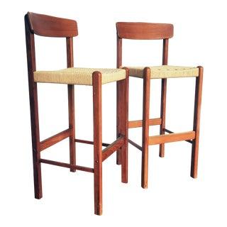 Hans Wegner Style Rope Seat Bar Stools - A Pair