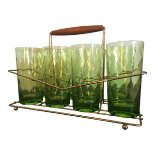 Federal Green Glass Beverage Set With Caddy