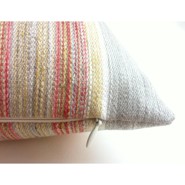 Coral & Grey Stripe Euro Sham Pillow Cover - Image 5 of 6