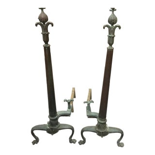 Chippendale-Style Mixed Metal Andirons