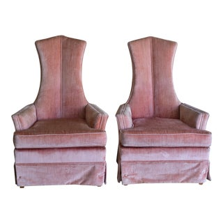 Pink Velvet High Back Chairs - A Pair