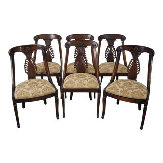 Custom French Empire Style Mahogany Dining Chairs - Set of 6