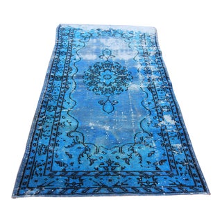 Vintage Turkish Blue Overdye Rug - 3'8 X 7'