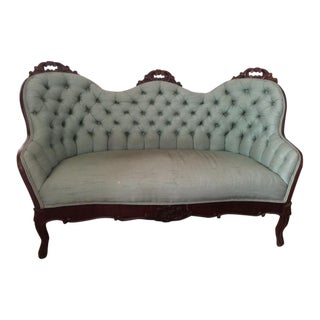 Antique Victorian Green Silk Tufted Settee