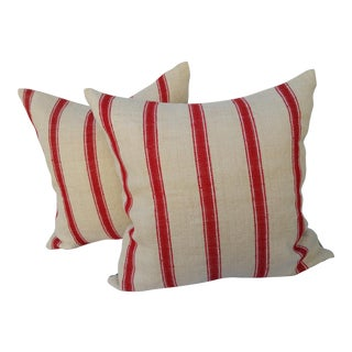 Home Spun Grain Sack Pillows - A Pair