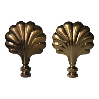 Brass Shell Lamp Finials - A Pair