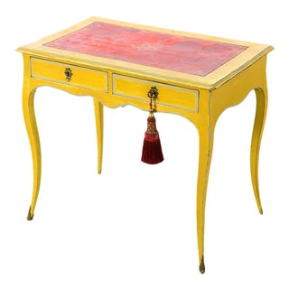 19th century Venetian Beautiful Painted Petite Ladies Desk -Leather top