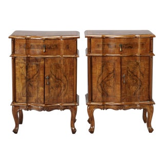 Italian Walnut Side Cabinets - A Pair