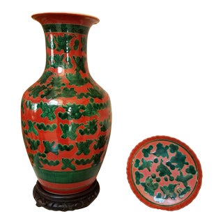 Asian Orange & Green Ceramic Vase & Dish - A Pair