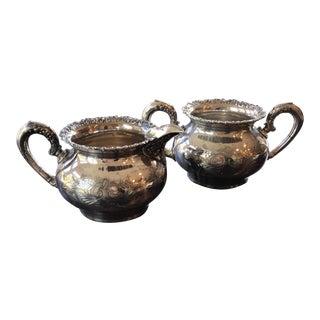 Antique Silver Plate Cream & Sugar Bowls