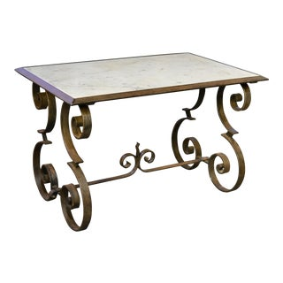 French Iron & Marble Coffee Table