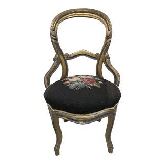 Antique Victorian Chair With Floral Needlepoint Seat