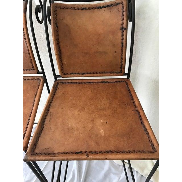 Scrolled Iron & Leather Bar Stools - Set of 3 - Image 4 of 11