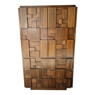 Brutalist Vintage Walnut Armoire by Lane Furniture co.
