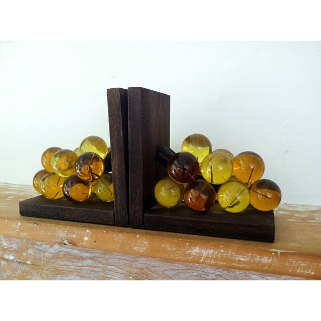 Image of 1960's Lucite Acrylic Grape Bookends