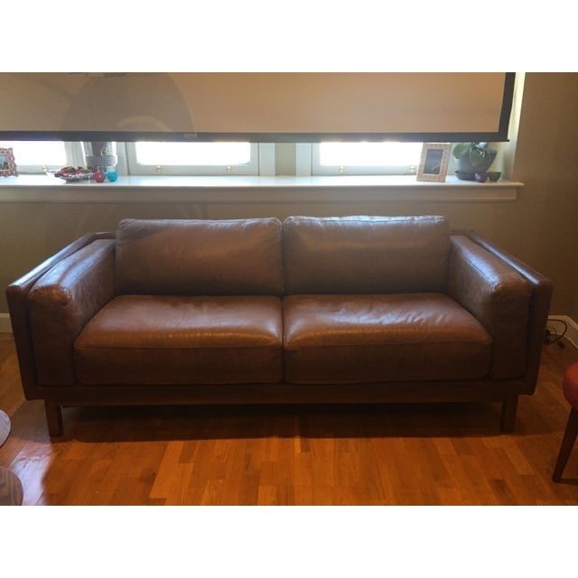 West Elm Leather Dekalb Sofa Chairish