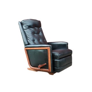 1950s Mid-Century Modern Black Vinyl & Walnut Recliner Lounge Chair