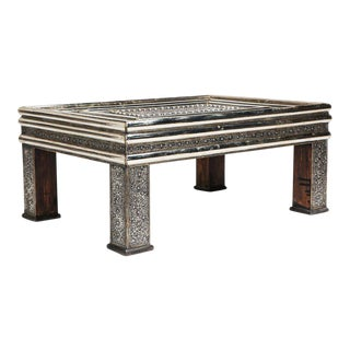 Moroccan Silver Metal Table with Glass Top