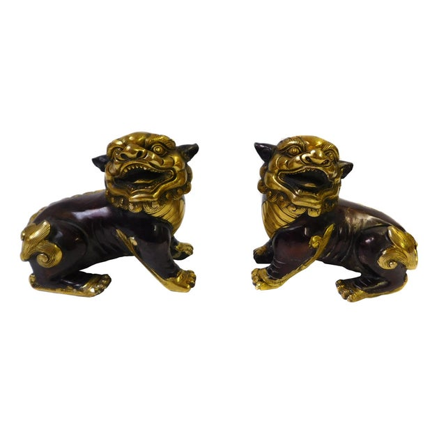 Chinese Bronze Golden Fengshui Foo Dogs - Pair - Image 2 of 6