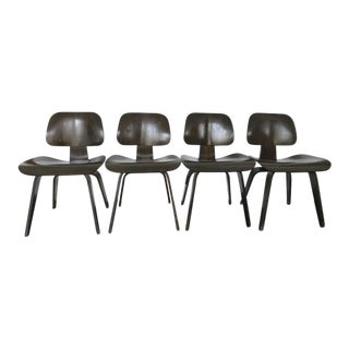 Eames Molded Plywood Dcw Dining Chairs - Set of 4