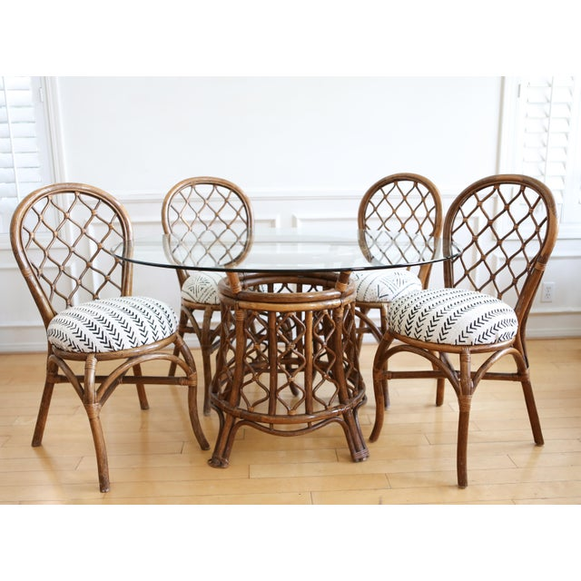Bamboo Dining Table with Mudcloth Chairs - Set of 5 - Image 2 of 11
