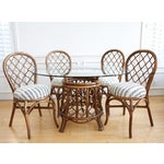 Image of Bamboo Dining Table with Mudcloth Chairs - Set of 5