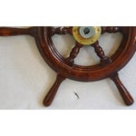 Image of 1950s Nautical Wood & Brass Ship's Wheel