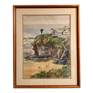 F. C. Cunningham California Beach Original Watercolor Painting