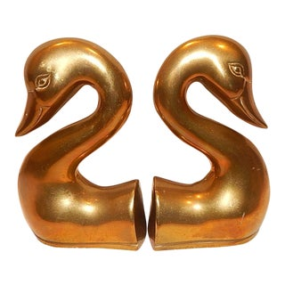 1970s Vintage Hollywood Regency Solid Brass Swan Bookends - a Pair