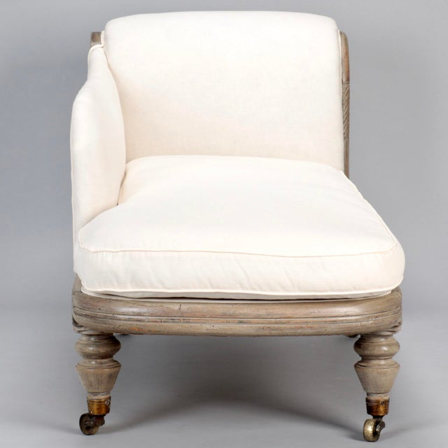 French Chaise Longue with Bleached Wood Frame - Image 4 of 11