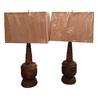 Mid-Century Hand Carved Wooden Lamps - A Pair