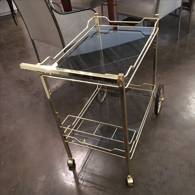 Brass with Smoke Glass Bar Cart - Image 3 of 7