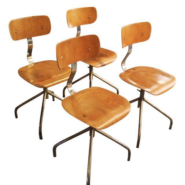 Vintage French Industrial Factory Stools - 4 - Image 1 of 10
