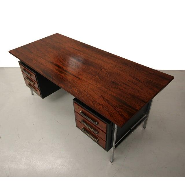 Mid-Century Floating Rosewood & Chrome Desk - Image 6 of 7
