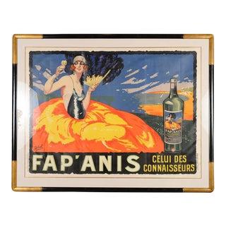 1920s Original Delval Art Deco French Liquor Poster Professionally Framed