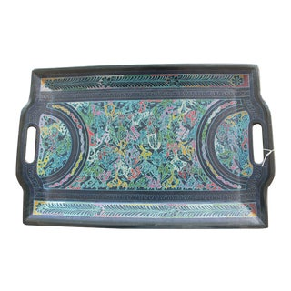 Mexican Hand-Carved Wooden Tray in Blue