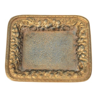 Vintage Metal Small Floral Tray