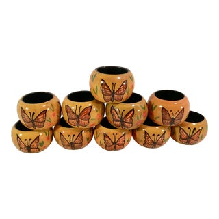 Vintage Yellow Lacquered Butterfly Napkin Rings - Set of 10