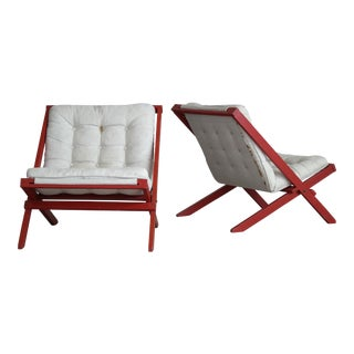 Danish Modern Red Accent Easy Canvas Chairs - A Pair