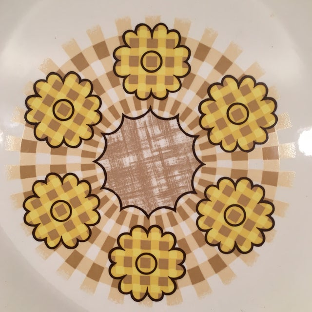 Image of Vintage Retro Yellow Flower Power Platter