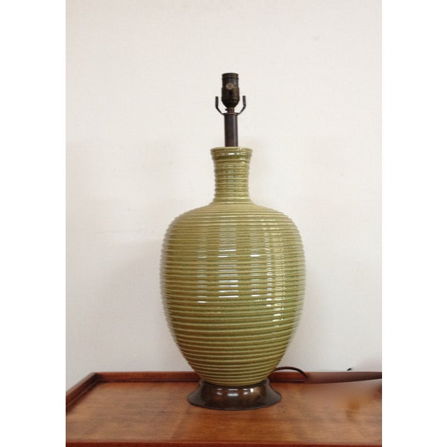 Concentric Ringed Stoneware Table Lamp - Image 2 of 6