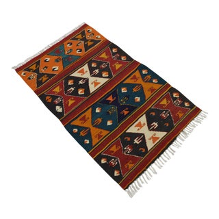 Turkish Kilim Rug Hand Woven Tribal Area Rug - 2′6″ × 4′5″