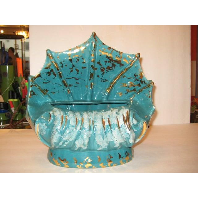 Turquoise Ceramic Shell Shape Table Lamp - Image 3 of 6
