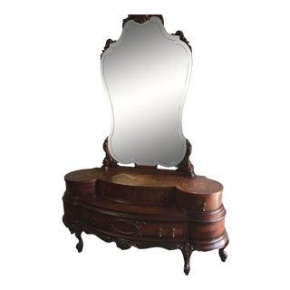 Antique Art Deco Dresser Vanity & Mirror