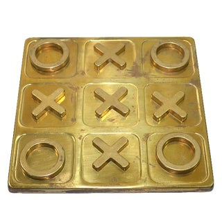 Vintage Brass Tic Tac Toe Game