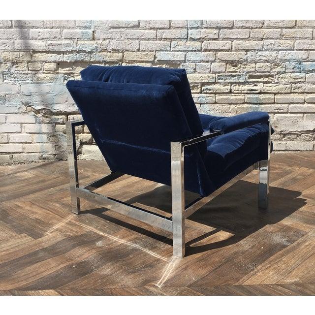 Milo Baughman Blue Velvet Club Chair - Image 3 of 5