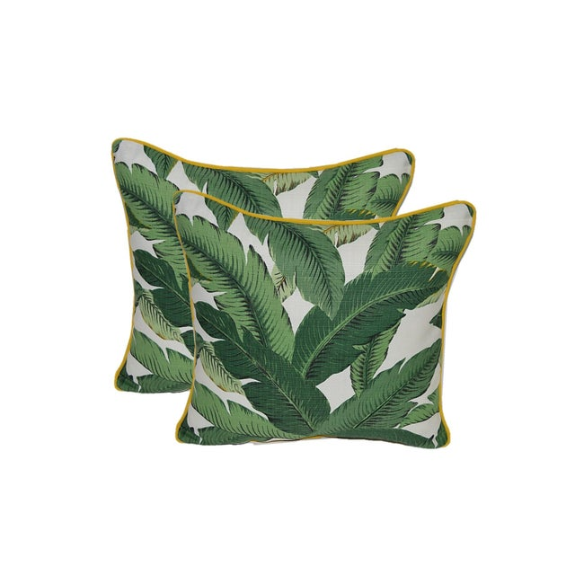 Image of Swaying Palm Pillows with Yellow Cording- A Pair